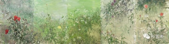 《杂花写生卷》 布面油画 80cmx300cm