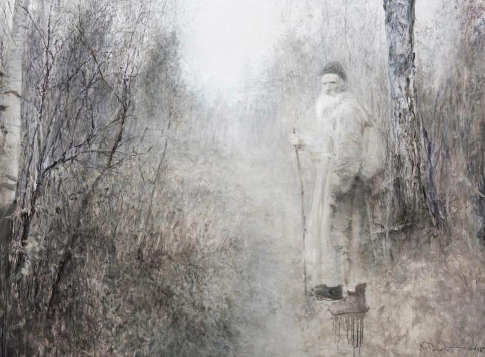 《俄罗斯森林-流浪列夫·托尔斯泰》 150×200cm 布面油画 2015