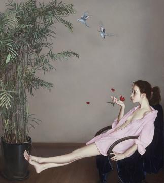 李贵君 《红玫瑰》200x180 布面油画 2015-2018