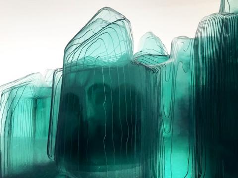 王度 《赤壁图》(局部)尺寸可变玻璃、人造大理石、金属 2018
