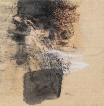 陈心懋《 灵石图 1》32.8 x 32.8 cm 纸本水墨,综合材料 2013