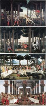 桑德罗•波提切利 《老实人纳斯塔基奧的故事》 83 x 138cm 混合材料、木板 1483 现藏于西班牙马德里普拉多美术馆。