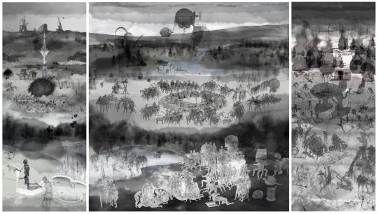 缪晓春 坐天观井-三联画 数码水墨 可变尺寸 2008