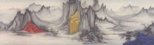 徐累《互山-1》 纸本 61.5 ×210 cm 2017
