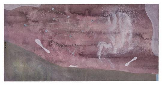 王伊楚 《星辰之七》 纸本综合材料 22×44.5cm 2013