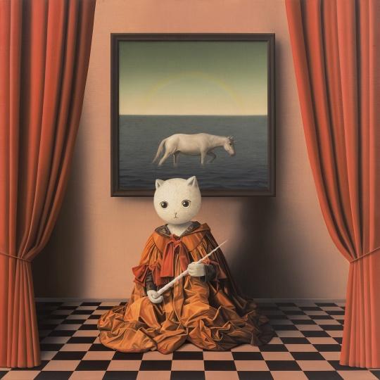 张凯《伊里丝与独角兽》100×100cm 布面油画 2018