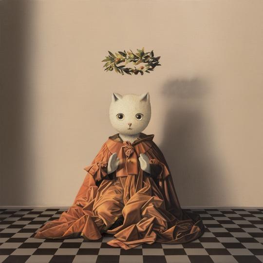 张凯《掌中的伊里丝》80×80cm 布面油画 2018