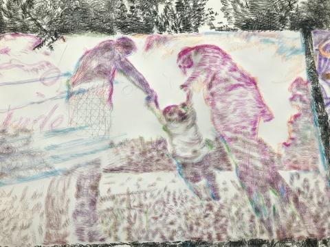 在戴陈连看来,于艾君的作品更像是剧场。他的作品充满着改动和再次改动,艺术家在反复的涂抹中纠正和提示着他想要强调的关于动作的踪迹。