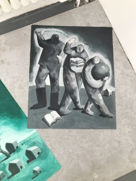 这位生活在湖北荆州的艺术家,平时买菜回来八点还不到,就会在小楼上画画,地上全是画,还有烟头。就在这些小人物、小方式中,艺术家用非常平民化的方式进行着梦想的延续。