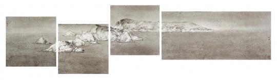 管伟邦(1974年生)《犄角旯旮》 首三屏高. 51 x 宽. 51 公分 第四屏高. 51 x 宽. 114 公分 水墨纸本,四屏 2017