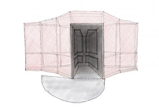 吴海赐《深入浅出》木、布、金属及毛毡板4300(L) × 2600(W) × 2500 (H)cm2018