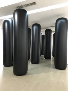 方二&孟瑾《黑色曼波》260×78cm不锈钢,水泥,重力感应声音系统 2016-2018