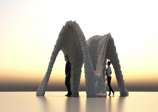 王文栋TEAM CAFA 中央美术学院参数化设计小《数字泡沫》400×390×320cm泡沫2017