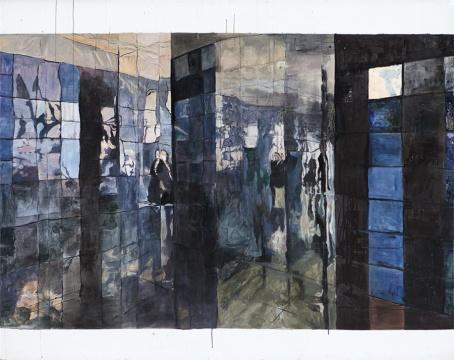 付妍姝《旅行的意义3》 布面综合材料,200 x 160cm,2017