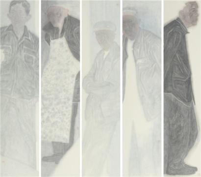 钟德福 《带有阴雨的春天》 纸本水墨,40 × 180 cm × 5,2018
