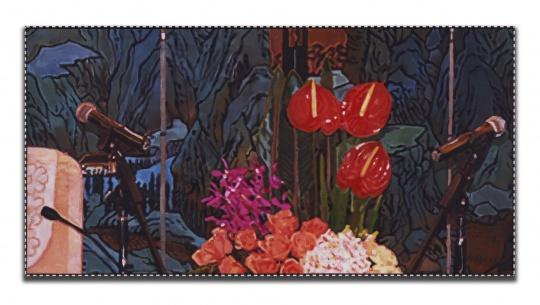 杨振中《静物与风景 #16》油画76×150 cm2018