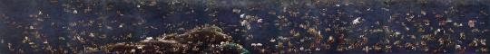 杨诘苍《十一日谈》绢本工笔重彩裱在画布上14条屏每屏225 x 142 cm 2012-2014