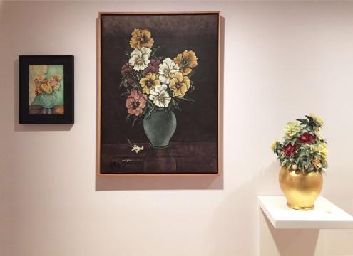 杨诘苍《还是花 - 三色堇》绢本重彩、水彩、彩瓷1913-2013