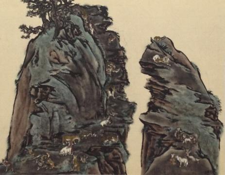 杨诘苍《比天堂还奇妙-双峰》绢本重彩95.5 x 121.5 cm2009