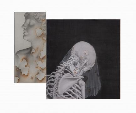 叶紫《她的叙事诗系列一》 左 28x42cm 左 37x65 cm 绢本设色 2018