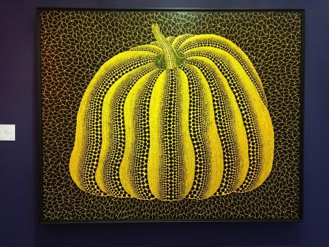 草间弥生 《南瓜》 130.3×162cm 亚克力画布 2013  估价:1000万-2000万港元