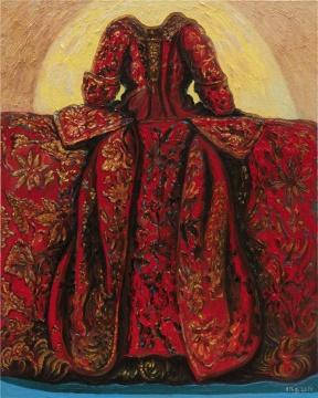 《历史塑造-红色长裙》 100x80cm 布面油彩 2018