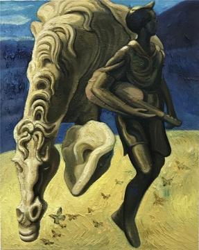 《历史塑造-马和弹琴的少年》 100x80cm 布面油画 2018
