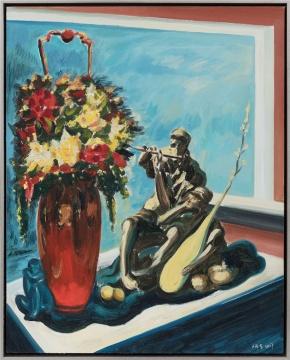 《历史塑造—花篮.窗前和热爱生命的人》100×80cm 布面油画 2018年
