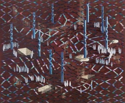 《螺旋立柱(固事)》190 x 230cm布面丙烯、粉笔、油画2018