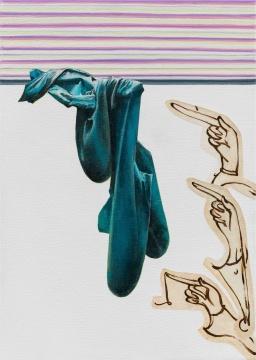 《三个手指札记》35 x 25cm布面丙烯、油画 2017