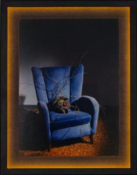 《我梦》50.5×39.5×4.8cm 摄影 | 装置 铁框,LED,绢,铝塑板,木板,彩色照片 2018