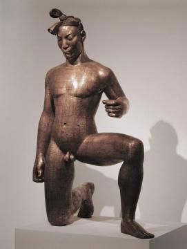 《故国·颂4#》 铜板、铜线、树脂  100×65×145cm 2000-2001   该作品第8 8件曾于2006年香港苏富比春拍以90万港币成交价再创中国雕塑家历史记录