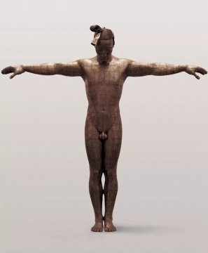 《故国·颂7#》 铜板、铜线、树脂 300×60×300cm 2005-2006