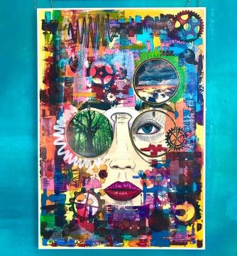 Senses, Collage - Acrylic, Ink on plastic, 90x130cm, 2018, Maik Nowodworski