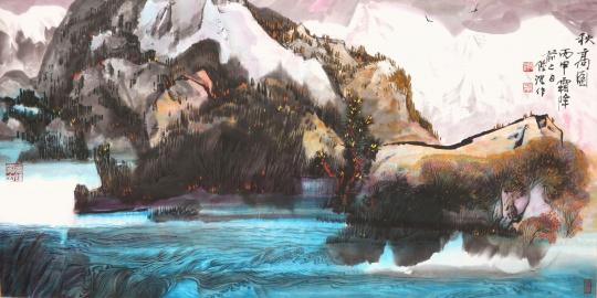 陆沉《家园系列(之四-<秋高图>)》69×138cm 2016