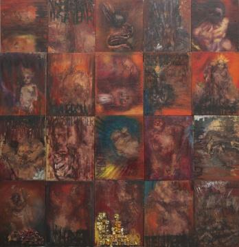 赵银鸥 《我与我系列》 木板油画全拼 60×45cm×20 2018