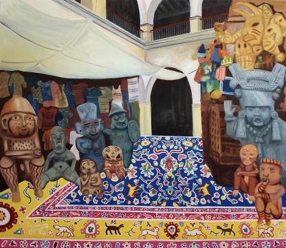 马克·纳德 《Olmec Shang》 布面油画 150 x 130cm 2018