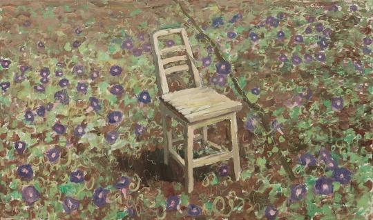 《圭山·被牵牛花包围的靠背椅》 50×100cm 布面油画 2017.10.04-06