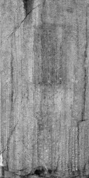 秋麦《无字碑》,2007,摄影墨本、仿宣棉纸,416 x 210 cm