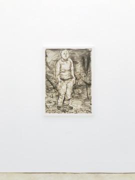 李继开《伫立的人》106×70cm 纸本炭笔 2016