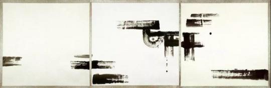 《无题-作品203-85》宣纸、水墨 99x104cmx3 1985