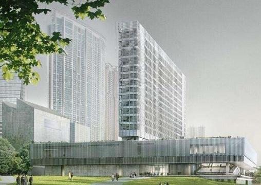 2019年将竣工的M+主场馆建筑渲染图,图片来源:M+