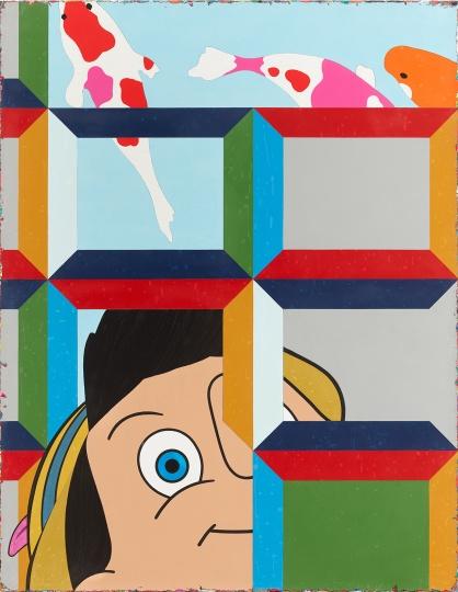 《不说谎没办法钓鱼的皮诺丘》180×140cm 亚克力颜料、画布 2018