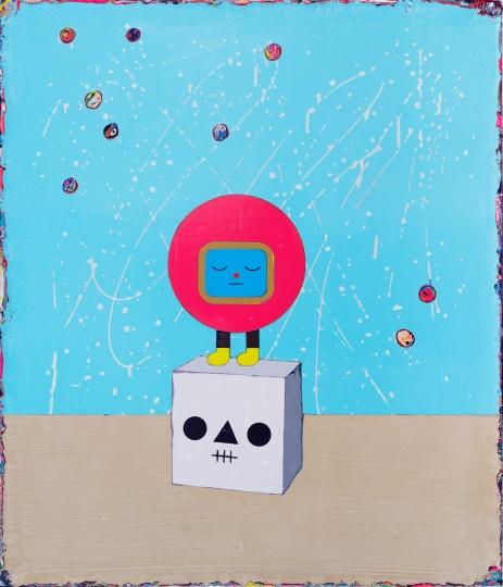 《泡泡沈思者》70×60cm 亚克力颜料、画布 2017
