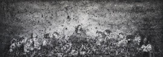张洹 《问孔子No.8》280 × 780 cm 香灰、亚麻布 2012