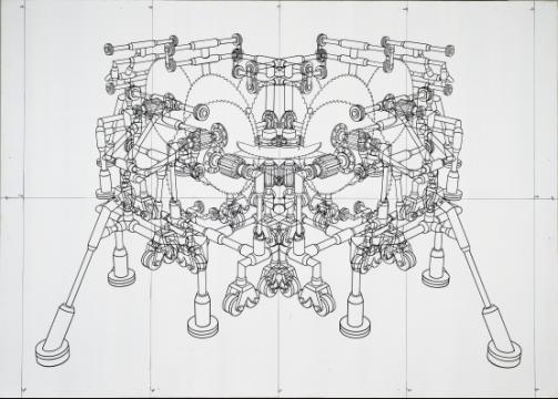 王鲁炎《被锯的锯》250 × 350 cm 布面丙烯 2002