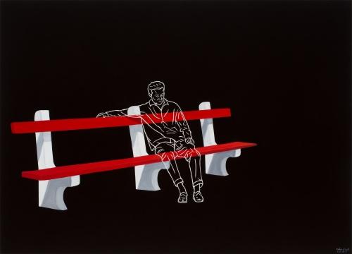 拉兹罗·费赫尔《红色长椅上的男人》180 × 250 cm 布面油画 2015
