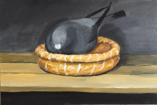 《黑色鸽子》40×60cm 布面丙烯 2018
