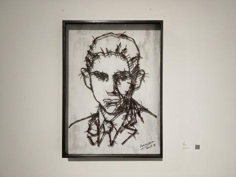 艾松《卡夫卡》55 x 41 x 5 cm 铁刺 2017