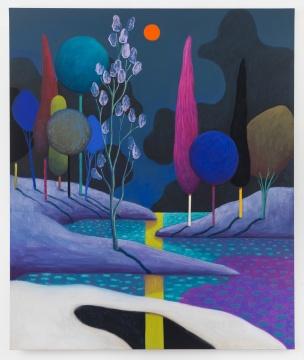 《日落02》 180×150.2×2.5cm 布面色粉 2018  由艺术家、Galerie Gregor Staiger画廊(苏黎世)及The Modern Institute/Toby Webster Ltd(格拉斯哥)惠允